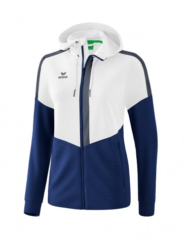 Squad Training Jacket with hood - Women - white/new navy/slate grey
