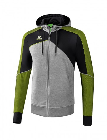 Premium One 2.0 Training Jacket with hood - Men - grey marl/black/lime pop