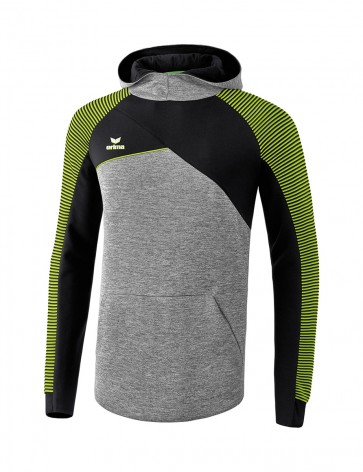 Sweat à capuche Premium One 2.0 - Enfant - gris chiné/noir/vert citron