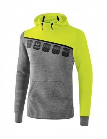 5-C Hoody - Men - grey marl/lime pop/black