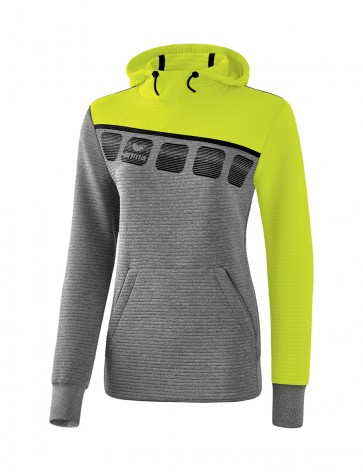 5-C Hoody - Women - grey marl/lime pop/black