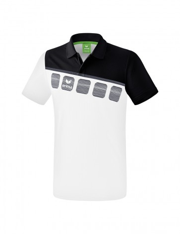 5-C Polo-shirt - Men - white/black/dark grey