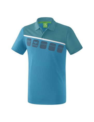 5-C Polo-shirt - Men - oriental blue/colonial blue/white