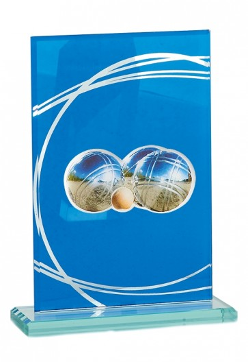 Petanque trophy in glass with triplette and jack picture, 21cm