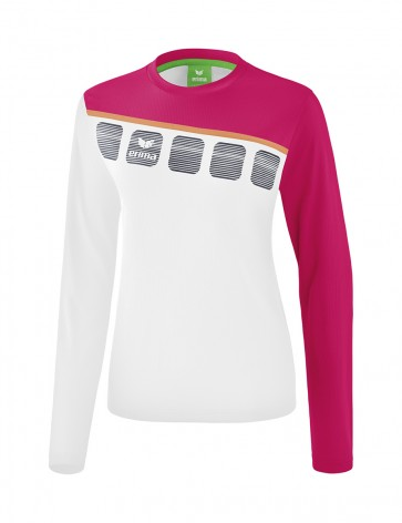 5-C Longsleeve - Women - white/love rose/peach