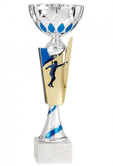 Petanque cup blue and gold height 33 cm