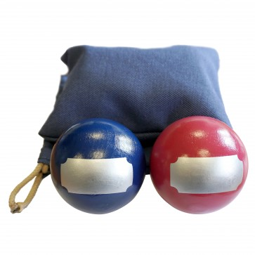 Set of 4 painted wooden balls