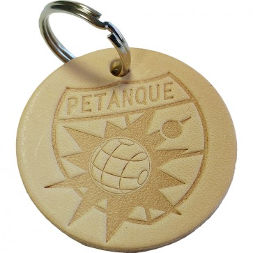 Natural leather petanque key ring