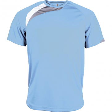 Short-sleeved sports t-shirt - men - sky blue/white/storm grey