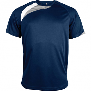 Short-sleeved sports t-shirt - men - sporty navy/white/storm grey