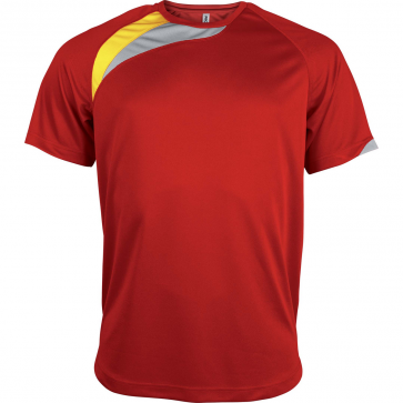 Short-sleeved sports t-shirt - men - sporty red/sporty yellow/storm grey