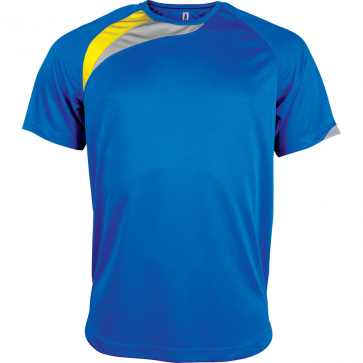 Short-sleeved sports t-shirt - men - sporty royal blue/sporty yellow/storm grey
