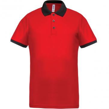 Performance piqué polo shirt - men - red/black