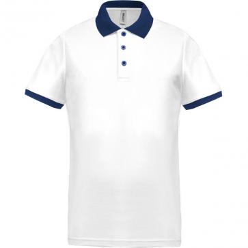 Performance piqué polo shirt - men - white/navy