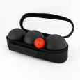 3 Petanque balls with bag - 1P pattern black