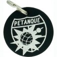 Silver leather petanque key ring