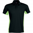 Flag > short-sleeved two-tone polo shirt - men - black/lime