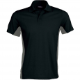 Flag > short-sleeved two-tone polo shirt - men - black/slate grey