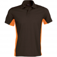 Flag > short-sleeved two-tone polo shirt - men - dark grey/orange
