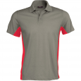 Flag > short-sleeved two-tone polo shirt - men - light grey/red