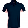 Flag > short-sleeved two-tone polo shirt - men - navy/deep pink