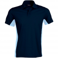 Flag > short-sleeved two-tone polo shirt - men - navy/sky blue
