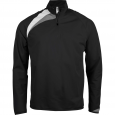 Zip neck training top - kids - black/white/storm grey