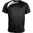 Short-sleeved sports t-shirt - kids - black/white/storm grey