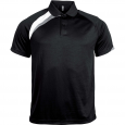 Short-sleeved sports polo shirt - men - black/white/storm grey