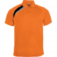 Short-sleeved sports polo shirt - men - orange/black/storm grey
