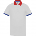 Performance piqué polo shirt - men - white/red/sporty royal blue