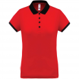 Performance piqué polo shirt - ladies - red/black