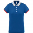 Performance piqué polo shirt - ladies - sporty royal blue/white/red