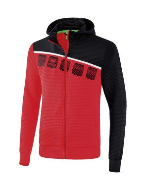 5-C Training Jacket with hood - Kids and Adults - red/black/white