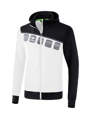 5-C Training Jacket with hood - Kids and Adults - white/black/dark grey