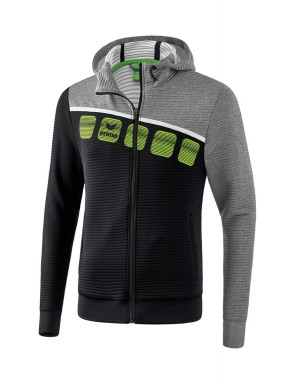 5-C Training Jacket with hood - Kids and Adults - black/grey marl/white