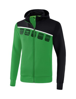 5-C Training Jacket with hood - Kids and Adults - emerald/black/white