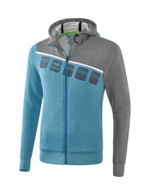 5-C Training Jacket with hood - Kids and Adults - oriental blue melange/grey melange/white