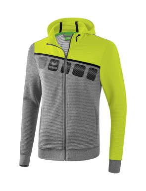5-C Training Jacket with hood - Men - grey marl/lime pop/black