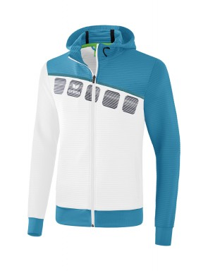 5-C Training Jacket with hood - Kids - white/oriental blue/colonial blue