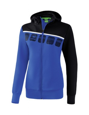 5-C Training Jacket with hood - Ladies - new royal/black/white