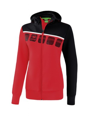 5-C Training Jacket with hood - Ladies - red/black/white