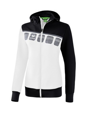 5-C Training Jacket with hood - Ladies - white/black/dark grey