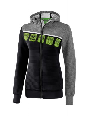 5-C Training Jacket with hood - Women - black/grey marl/white