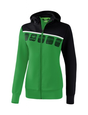 5-C Training Jacket with hood - Ladies - emerald/black/white