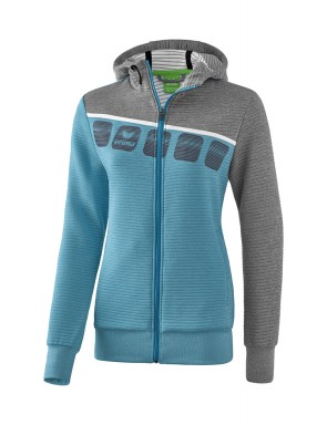 5-C Training Jacket with hood - Ladies - oriental blue melange/grey melange/white
