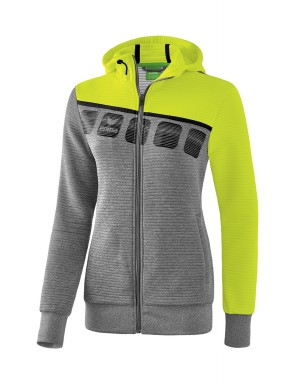 5-C Training Jacket with hood - Women - grey marl/lime pop/black
