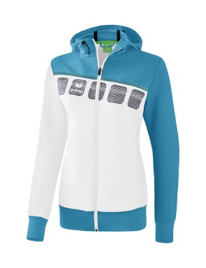 5-C Training Jacket with hood - Women - white/oriental blue/colonial blue