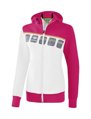 5-C Training Jacket with hood - Women - white/love rose/peach