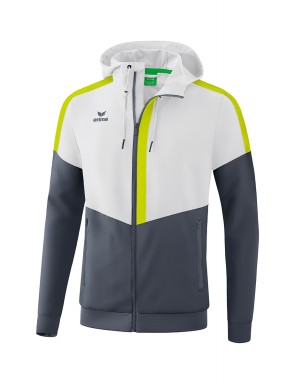 Squad Track Top Jacket with hood - Men - white/slate grey/bio lime